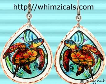 Sea Turtle Earrings Artwork Original Painting Turtle Earrings