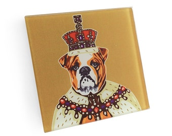 Set of 4 English Bulldog King Coaster