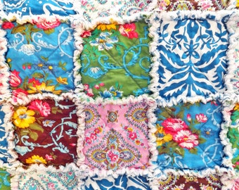 Rag Quilt - Floral Quilt - blue, brown, yellow, green, pink - Large Lap Quilt - Wedding Gift - Gift For Her