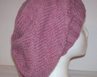 Wool/Acrylic Slouch Hat - Slouchy Knit Beanie - Hand Knit Hat - Rose Heather