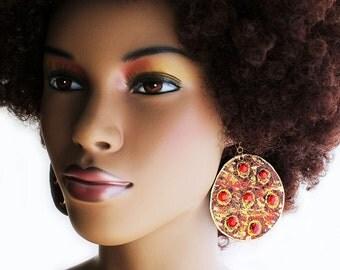 Leather Earrings, Bejeweled Earrings, Flaming Red Bejeweled Long Leather Earrings