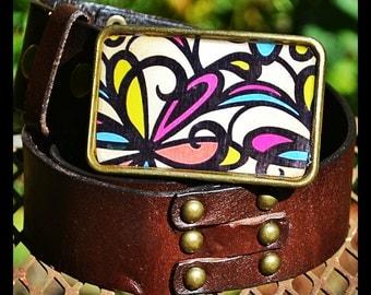 The Deanna Belt.  Art Nouveau Flower Buckle with Brown Leather Belt