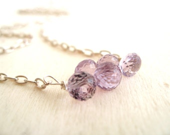 AAA Pink Amethyst necklace February birthstone Sterling silver necklace by Vitrine