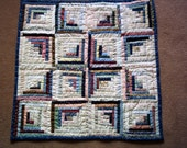 Scrappy Log Cabin Star quilt, wall or crib quilt, table topper handquilted