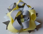 Grey and Yellow Set of 2 Boutique Hair Bows Gray Maize
