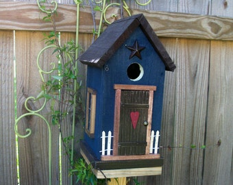 Folk Art Primitive Garden Cottage Birdhouse