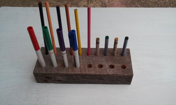 Handmade wooden pencil, crayon and marker holder