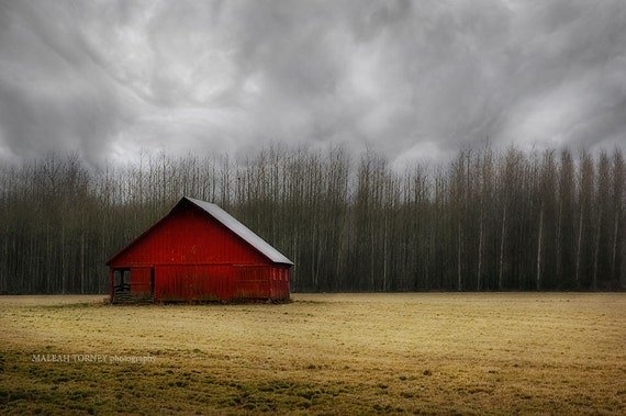 Red Barn Photography - landscape country picture, dark storm clouds, fall farm decor