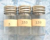 Glass Watch Part Bottle Vial Lot Antique Metal Lids Number Labels Diy Repurpose Supplies