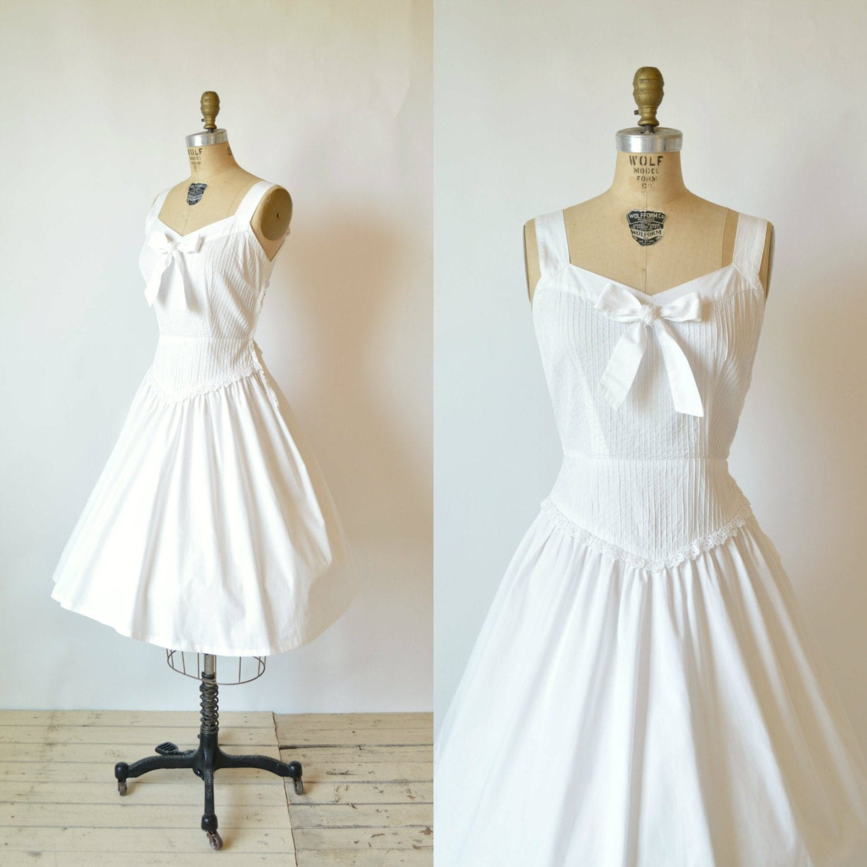 1960s Wedding Dress Vintage Cotton Pintuck Junard Dress