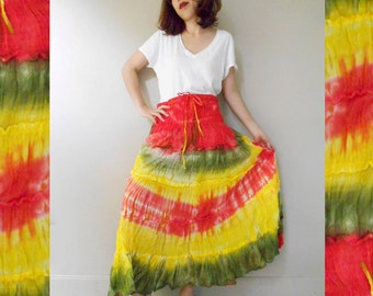 Hippie Gypsy Tie dye Cotton Patchwork Long Smock Skirt /Summer Dress S-L (01)