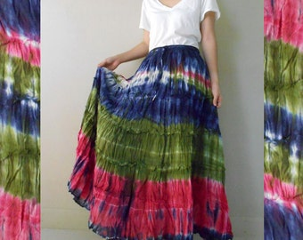Hippie Gypsy Elastic waist Tie dye Cotton Patchwork Long Skirt S-L (EL2)