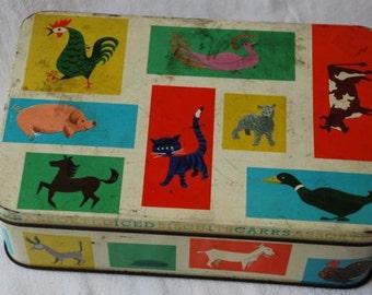 Rare Vintage Mid Century Modernist Animals Confectionery Cookie Biscuit Tin Box 1950's Retro