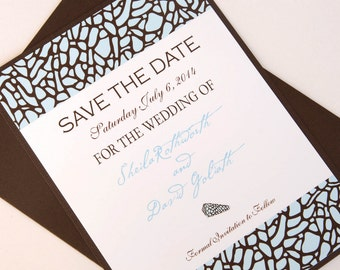 Chocolate Brown and Sea Blue Beach Shell Destination Wedding Save the Date