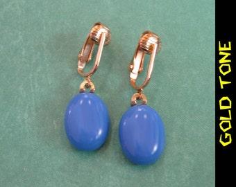 Dangle Clip On Earrings, Drop Style Clipons, Dangle Cobalt Blue, Gold Tone Clipons Findings - Ramsey - 271 -4