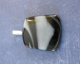 Black White Pendant, Fused Glass Jewelry, Omega Slide, Glass Costume Jewelry, Black White Jewelry - Johanna - 4658 -4