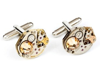 Steampunk Cufflinks with Gold and Silver Unique Matched Vintage Watch Movements and Sparkling Topaz Swarovski Crystals by Velvet Mechanism