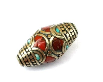 Nepal1 bead brass with coral and turquoise flat shape 29mmx15mm
