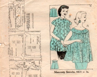 Vintage 1950s Maternity Tops Sewing Pattern 34 inch bust