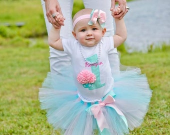 First Birthday Outfit Girl - Baby Girl 1st Birthday Tutu - Cupcake Birthday Outfit - Pink and Aqua