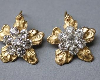 Gold Flower Earrings Gold Rhinestone Earrings Bridesmaid's Jewelry Garden Wedding Earrings