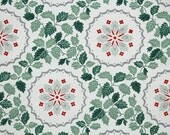 1940's Vintage Wallpaper - Green Ivy Leaves with Red and White Geometric Design