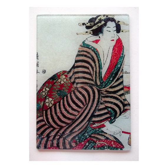 Lady Geisha in Striped Kimono Glass cutting board, Geisha glass, geisha sushi, samurai lady gift, geisha gift,Japan gift,japan art gift