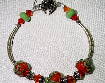 Pumpkin Patch Bangle Bracelet with Sterling Silver and Swarovski Crystals