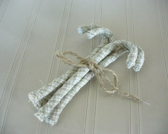 Homespun Candy Canes Primitive Tan Set of 4