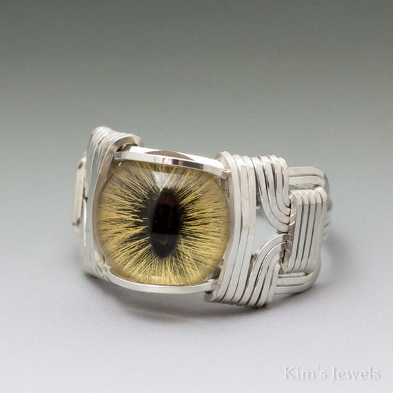 Yellow Glass Cat Eye Eyeball Sterling Silver Wire Wrapped Ring ANY size