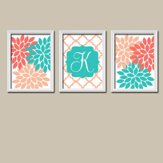 Coral turquoise wall art monogram wall art baby girl by for Turquoise wall decor