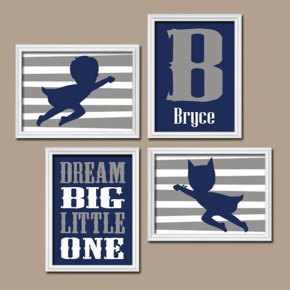 SUPERHERO Wall Art CANVAS Or Prints Boy Nursery Child Navy Blue Gray