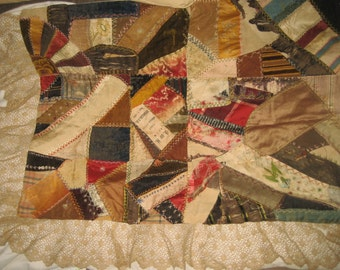 Antique Victorian Silk Crazy Quilt Piece w/ Hand-Made Lace Border, Silk Turkey Stitch Embroidery