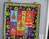 Rockets and Spaceships Quilt or Wall Hanging for a boy