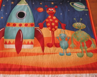 Rockets and Spaceships Wall Hanging for a boy