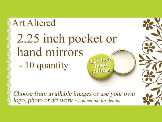 10 Custom Hand Pocket MIRRORS 2.25 inch Image Art Logo party favors shower baby bridal gifts save date stocking stuffers promos flair