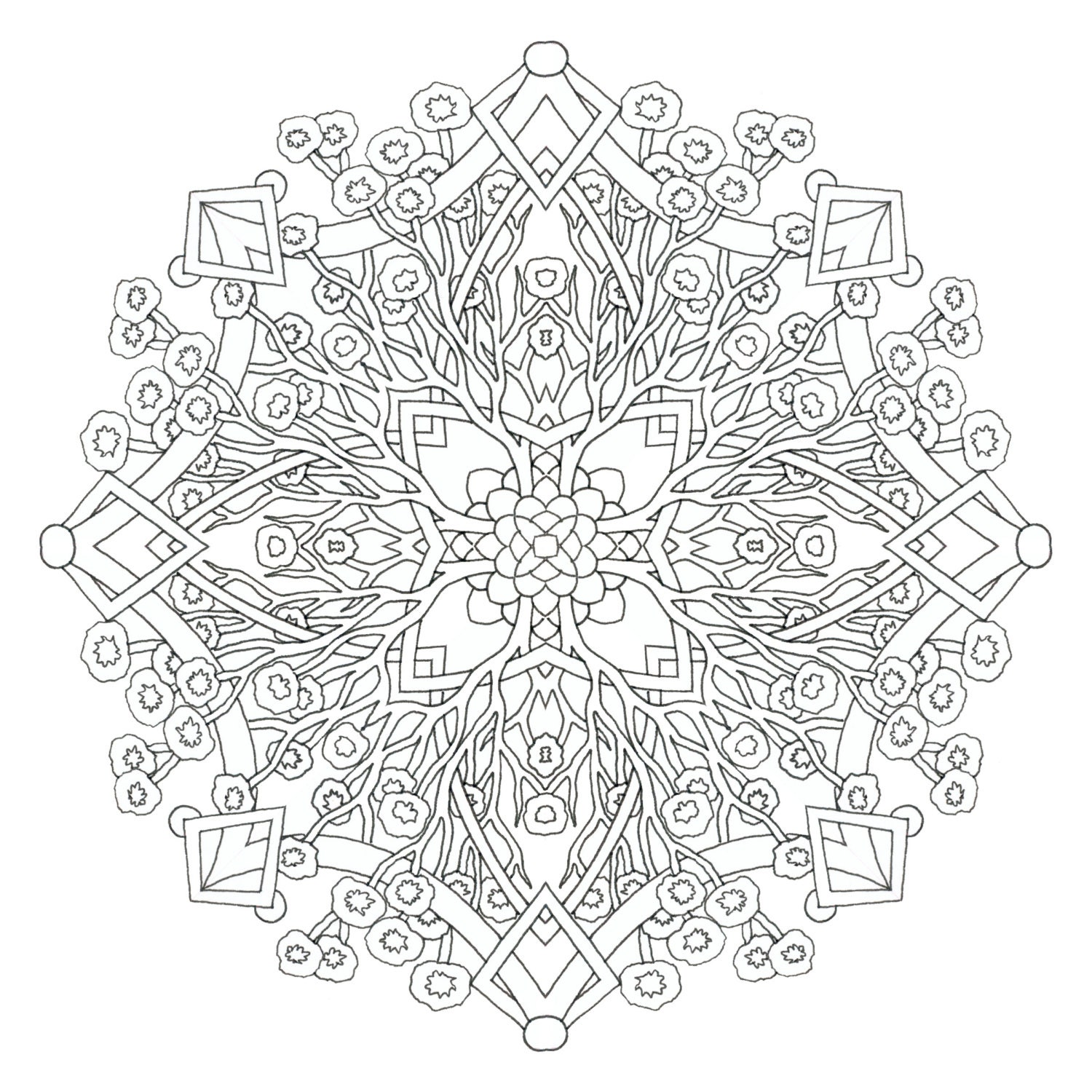 Printable Coloring Page Cherry Blossom Mandala by emerlyearts