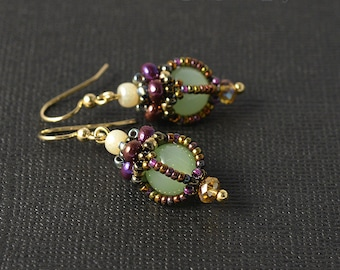 Victorian Jade Beadwoven earrings