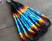 Native American beaded earrings  black and turquoise - beadwork earrings - seed beaded earrings
