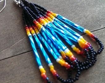 Native American beaded earrings  black and turquoise - beadwork earrings - seed beaded earrings