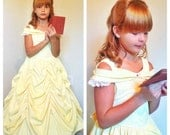 Beautiful BELLE Ball gown in Boutique size 2T to 6 PERFECT GIFT for your princess in golden or pale yellow cotton