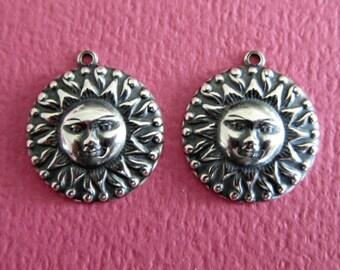 2 Silver Sun Charm 3470