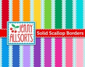 Scallop Edge Digital Ribbon - 20 Colors - Clip Art Borders - Instant Download - for card making, invites and digital scrapbooks