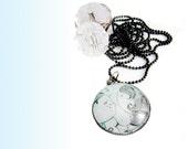 Round glass photo necklace, blue necklace, romantic, picture pendant