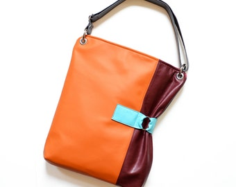 Leather Laptop Bag, Crossbody Bag, Leather Everyday Bag, Crossbody Laptop, Leather Shoulder Bag - The Luella Bag in Orange and Burgundy