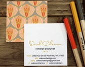 calling cards / business cards / mom cards articoke pattern corals / taupe - set (50)