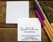 calling cards / business cards / classic chevron ikat / silver - set (50)