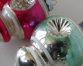 3 vintage glass Christmas ornaments, Shiny Brite shapes with double indents - oodles