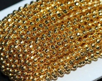 100 ft spool of Gold plated brass faceted ball chain 2.4mm, gold chain, gold plated brass chain