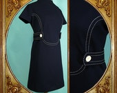60s Mod navy blue dress with 3/4 belt and white contrasting stitching.